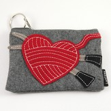 Lantern Moon Stitch Red Felt Keychain Clutch