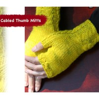 907 Cabled Thumb Mitts (Free Pattern)