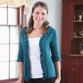 Valley Yarns 361 Teal Top-Down Cardigan