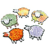Jan Mitchell Glass Sheep Ornaments