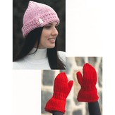 Plymouth Yarn 2119 Buttoned Hat and Mittens