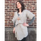 Plymouth Yarn 2127 Encore Chunky Tweed Moss Trimmed Cardigan