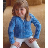 Plymouth Yarn 2912 Girl's Lace Rib Cardigan