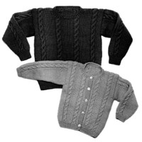 22 Child's Cable Sweater Pullover or Cardigan