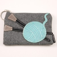 Yarn Ball with Needles Keychain Clutch